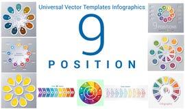 Os moldes universais ajustaram o infographics 9 posições Imagem de Stock Royalty Free