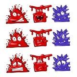 Os monstro dos desenhos animados ajustaram a ilustração Grupo da etiqueta da cor do caderno ou do portátil Isolado no branco imagens de stock