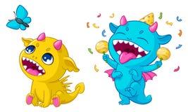 Os monstro dos desenhos animados que jogam a ilustração do vetor de criaturas bonitos felizes engraçadas dos dinossauros jogam pa ilustração royalty free