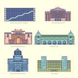 Os monumentos diluem a linha ícones do vetor Imagem de Stock