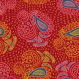 os motivos étnicos tribais asiáticos na moda entregam o teste padrão sem emenda tirado com o desenho da natureza do estilo de pai ilustração royalty free
