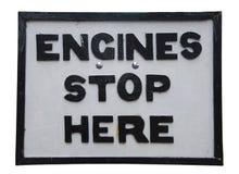 Os motores param aqui o sinal Imagem de Stock Royalty Free