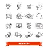 Os multimédios diluem a linha ícones da arte ajustados entertainment ilustração royalty free