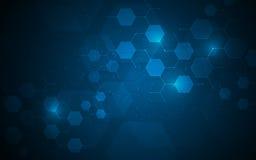 Os nós moleculars da tecnologia do hexágono conectam o fundo do conceito da inovação do projeto ilustração stock
