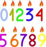 Os números 0 9 com velas Imagem de Stock Royalty Free