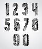 Os números condensados corajosos do estilo do cartaz com linhas tiradas mão tamborilam Fotografia de Stock