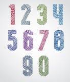 Os números condensados corajosos do estilo do cartaz com linhas tiradas mão tamborilam Imagem de Stock Royalty Free