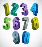 os números 3d ajustaram-se nas cores azuis e verdes feitas com formas redondas Fotografia de Stock Royalty Free