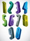os números 3d altos extra ajustaram-se nas cores azuis e verdes feitas com rou Imagens de Stock
