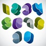os números 3d futuristas ajustaram-se em cores azuis e verdes Imagem de Stock Royalty Free