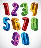 os números 3d geométricos ajustaram-se em cores azuis e verdes Fotografia de Stock Royalty Free