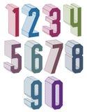 os números 3d geométricos ajustaram-se em cores azuis e verdes Imagem de Stock Royalty Free
