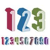 os números 3d geométricos ajustaram-se em cores azuis e verdes Imagens de Stock