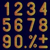 Os números de faixas em um fundo preto Imagem de Stock Royalty Free