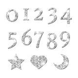 Os números de prata Shinning e a lua star o teste padrão do coração ilustração stock