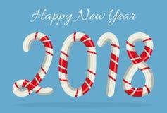 Os números do texto do bastão de doces 2018 mint listrado duramente no xmas doce da decoração do feriado do alimento do açúcar da ilustração do vetor