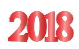 Os números 2018 do vermelho cortaram do papel em um fundo branco Imagens de Stock Royalty Free