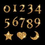Os números dourados Shinning e a lua star o teste padrão do coração ilustração stock
