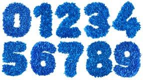Os números feitos a mão ajustaram-se das sucatas de papel azuis Imagens de Stock