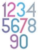 Os números funky das listras retros ajustaram-se, versão clara Fotos de Stock