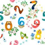 Os números gostam do teste padrão sem emenda dos pássaros ilustração do vetor
