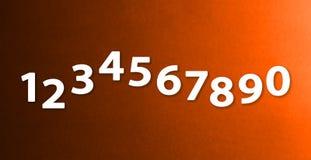 Os números zero nove nos fundos diferentes de papel da cor imagens de stock royalty free