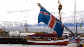 Os navios abrigam a bandeira de Islândia video estoque