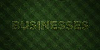 Os NEGÓCIOS - letras frescas da grama com flores e dentes-de-leão - 3D renderam a imagem conservada em estoque livre dos direitos ilustração stock