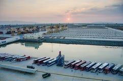 Os ônibus esperam no nascer do sol por passageiros para desembarcar de um navio de cruzeiros antes de tomá-los em uma excursão em Foto de Stock Royalty Free