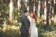 Os noivos que levantam na floresta Fotografia de Stock