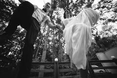 Os noivos que saltam, tendo o divertimento Fotos de Stock Royalty Free