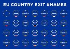 Os nomes para a UE retiram membros Brexit, Frexit, Italexit, Spexit ilustração stock