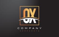 OS O X Gouden Brief Logo Design met Gouden Vierkant en Swoosh Royalty-vrije Stock Fotografie