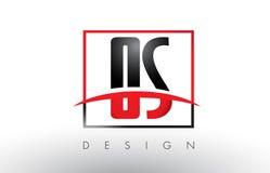 OS O S Logo Letters avec des couleurs et le bruissement rouges et noirs Images stock