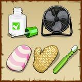 Os objetos ajustaram-se do escritório, higiene pessoal Imagem de Stock Royalty Free