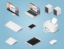 Os objetos digitais isométricos ajustaram a ilustração Coleção dos computadores e das fontes ilustração stock