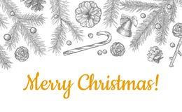 Os objetos do Natal entregam o teste padrão sem emenda tirado isolado no branco fotos de stock royalty free