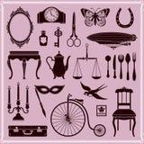 Os objetos e os ícones do vintage ajustaram 2 Fotos de Stock