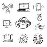 Os objetos ou os ícones de uma comunicação ajustaram o vetor e o illustrat dos desenhos animados ilustração royalty free