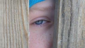 Os olhos azuis do ` s do menino de um adolescente completamente dos rasgos olham através da entrada ou de uma quebra na cerca dir vídeos de arquivo