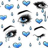 Os olhos azuis fêmeas abertos bonitos com pestanas longas são isolados em um fundo branco Teste padrão sem emenda para o projeto ilustração do vetor