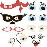 Os olhos cômicos ajustaram-se, ilustração de um grupo de ser humano engraçado dos desenhos animados, animais, animais de estimaçã Fotos de Stock