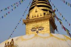 Os olhos da sabedoria, monastério de Swayambhunath imagem de stock royalty free