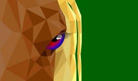 Os olhos dos cavalos no corpo poligonal Fotos de Stock Royalty Free