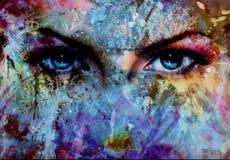 Os olhos e a pintura das mulheres colorem o efeito, compõem-no e contato de olho ilustração royalty free