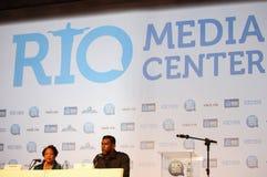 Os Olympics sem racismo no brasileiro ostentam a conferência Fotografia de Stock