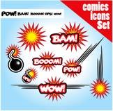 Os ops do prisioneiro de guerra do bam do crescimento das bombas do estilo da banda desenhada uau explodem Fotos de Stock Royalty Free