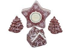 Os ornamento de ano novo e de Natal, isolados no fundo branco Imagem de Stock Royalty Free