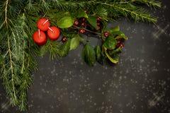 Os ornamento do Natal com as bagas vermelhas pequenas, as bolas brilhantes, velas vermelhas e um pinho ramificam imagem de stock
