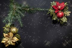 Os ornamento do Natal com as flores douradas e vermelhas, as bolas brilhantes e um pinho ramificam fotos de stock